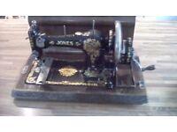 Vintage Jones Hand Cranked (Floral Lily Design) Sewing Machine