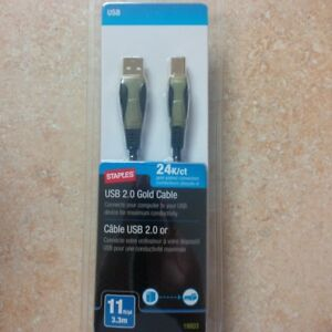 11' USB 2.0 Gold Cable, new in package