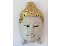 Quality item: Wall-hanging, face of Buddha mask, decorated and gilded wood carving