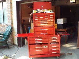 Gray roller cabinet with tools