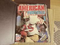 American Football magazines. A full set of 18 in binder. + a few NFL stickers