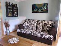 2 & 3 Seater Cream and Brown Fabic Sofa's