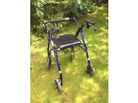 Mobility 4 wheel folding walking frame with seat and basket