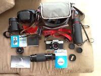 Praktica camera and various lenses