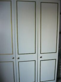 WARDROBE (3 DOOR ) AND MATCHING CHEST GREY WITH GOLD DECORATION