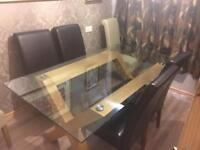 Glass and Oak Dining Table and Chairs