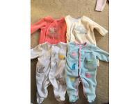 Baby fleece bodysuits - John Lewis 4 x 7lb size