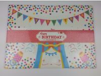 "Job Lot 24 Packs of Happy Birthday Party Place-mats (pads of 20) dimensions approx 17"" x 12.5"""