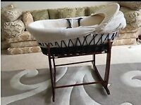 Dark moses basket with 2 stands & like new baby bath