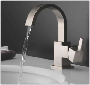 Delta Vero stainless steel bathroom sink faucet.