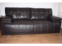 Dark brown endurance leather 3 seats sofa with FREE DELIVERY only £100