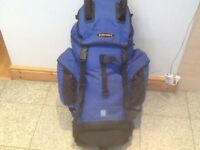 Lightly used Eurohike 55 litre capacity rucksack with pockets,pouches,straps&loops & raincover