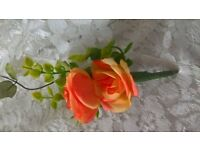 wedding button holes and corsages roses, two tone orange. others available, take a look.