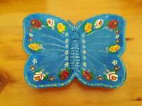 Vintage Hand painted metal butterfly dish / tray,  bardgeware