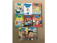 Family Guy DVD box sets, seasons 2 to 9.