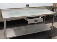Stainless Steel Table with Drawer and Shelf