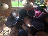 7 piece premier drum kit with 3 solar cymbals