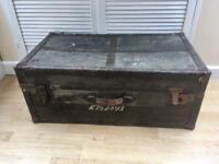Old vintage army ammunition box crate trunk steamer storage coffee table to unit console table