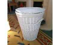 White wicker washing basket