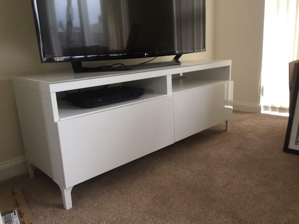 brand new white gloss ikea besta tv unit glass top in carnoustie angus gumtree. Black Bedroom Furniture Sets. Home Design Ideas