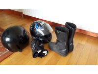 Motorbike Helmets, boots and gloves