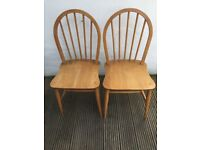 Pair of vintage 2 Ercol 1960s dining kitchen chairs.