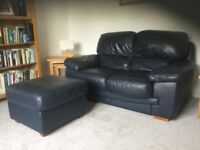 LEATHER SOFA and POUFFE - £75 the pair!!