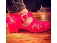 Pink Jelly Shoes (With heel) - Size 8 - Brand New