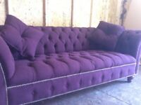 CHESTERFIELD SOFA BUTTONED SEAT COLOUR AUBERGINE FABRIC
