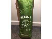 99% new Quechua Arpenaz 3 man camping tent (with sleeping mat, sleeping bag and chairs)