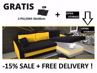 Brand new Corner Sofa Bed Bargain with Storage Container Sleep Function Fabric New FREE DELIVERY