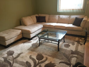 L-Shaped Couch with Matching Ottoman