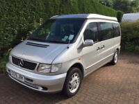 Mercedes V230 Auto 4 berth campervan with pop up roof, side awning, tow bar and back box.