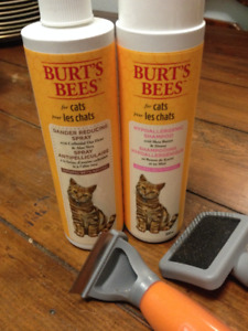 Burts Bees shampoo and Anti-Dander Spray + Whal Cat brush & comb