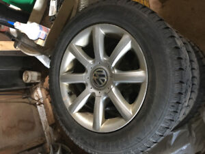 15' VW rims 5x112 with 196/65 Studdless Winters