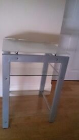 Glass Silver metal frame tv stand