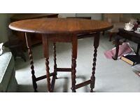 Small oak dropleaf table, with barley twist legs