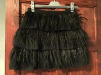 Black feathered skirt