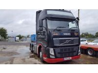 2012-12 plate volvo fh13-500 globe trotter xl 6x2 midlift tractor unit factory black plus vat