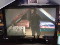 "Samsung 55"" Tv with instructions and stand"