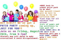 BACK TO SCHOOL KIDS PATIO PARTY