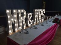 5ft Light up letters, sweet carts, ferris wheels, cupcakes and postbox