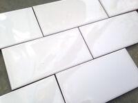 Mini Metro White tiles. 7.5x15cm X66. Bathroom / Kitchen. New