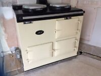 Second hand Aga for sale. Oiled fired. Cream colour 2 ovens. Serviced recently working perfectly.