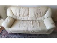 Cream coloured Leather sofa £100 ono