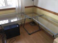 Glass office corner desk