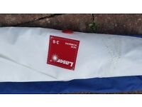 Genuine Laser full / standard sail, used twice, rolled, with Laser sail bag