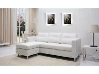 BRAND NEW ITALIAN LEATHER 3 SEATER CORNER CHAISE SOFA WITH FOOTSTOOL!!!!