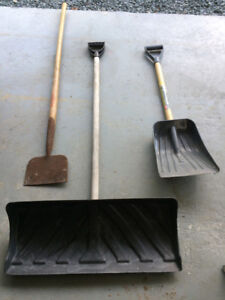 Snow shovels and ice chipper
