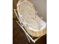 Mothercare Peter Rabbit Moses basket & Luxury stand.